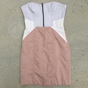 H&M Strapless Nude Colorblock Dress